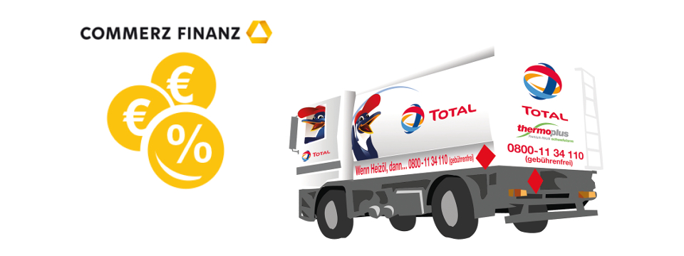 TOTAL heating oil tank-truck and  CommerzFinanz logo