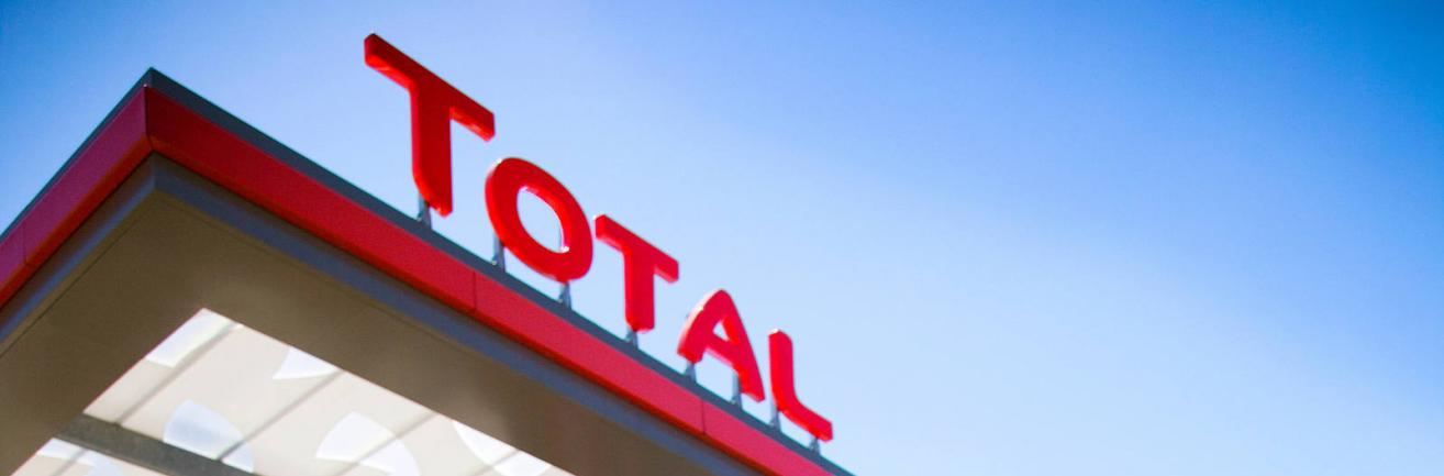 TotalEnergies font on Service Station roof