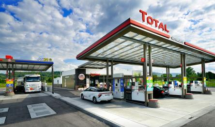 Panorama of the modern TotalEnergies service station in Karlsruhe